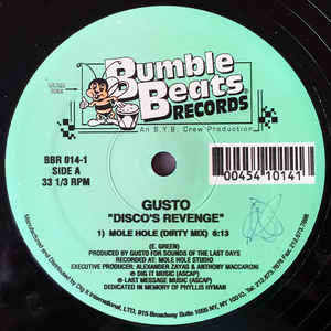 Gusto – Disco's Revenge [Bumble Beats Records:1995]
